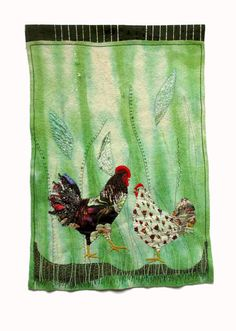 Hen and rooster textile wall hanging on green