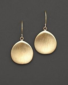 14 Kt. Yellow Gold Satin Finish Drop Earrings on shopstyle.co.uk
