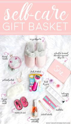 "Cute and thoughtful gift basket idea for anyone who needs more ""me time!"" How to create your own DIY spa gift basket plus 12 self care gift ideas to consider including (featuring the Amope Pedi Perfect Foot File) 