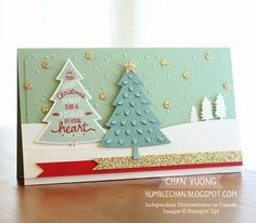 A Christmas card made with the Peaceful Pines stamp set and Perfect Pines Framelits dies from Stampin' Up! Made by Chan Vuong - Humblechan - Independent Demonstrator in Canada