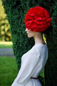 Red flower headdress