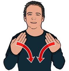 Dark/Night - Open hands with palms facing inwards move down in front of body to finish horizontal. British Sign Language Dictionary, English Sign Language, Sign Language Words, Sign Language Alphabet, Learn Sign Language, American Sign Language, Learn Bsl, Makaton Signs, Deaf Culture