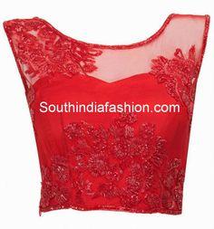 transparent neck blouse