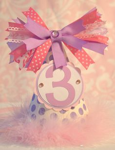 Pink and purple party hat/ party hat/ princess by TheBannerBee, $16.00