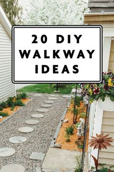 Outdoor walkways serve a practical and aesthetic purpose and theyre super easy to create. Recreating your front yard b Gravel Walkway, Outdoor Walkway, Concrete Walkway, Stone Walkway, Walkways, Walkway Ideas, Rustic Outdoor Decor, Rustic Patio, Lawn Edging