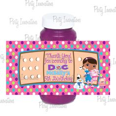 Printable Doc McStuffins Bubble Bottle Labels. $5.00, via Etsy.