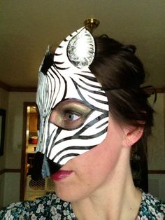 Zebra mask zebra costume zebra wall hanging by HighMoonCreations                                                                                                                                                                                 More