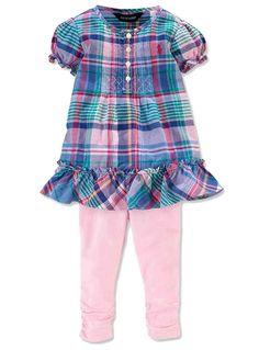 NWT Ralph Lauren Baby Girls Cotton Madras Ruffled Tunic Blouse & Legging Set  #RalphLauren #DressyEveryday