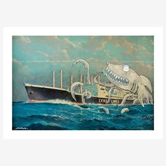Sharktopus Canvas, $75, now featured on Fab.