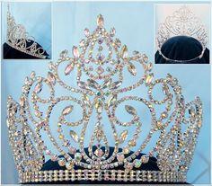 Beauty pageant rhinestone queen adjustable Aurora Borealis Crown Tiara
