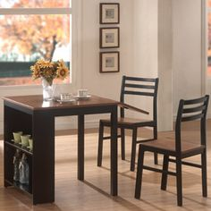 Coaster 3-Piece Breakfast Dining Set with Storage, Cherry/Black- Our crummy table isn't cutting it anymore.