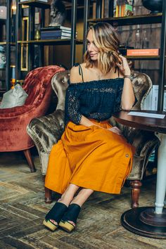 midi skirt, lace off the shoulder top, platform mules, spring outfit idea —via @TheFoxandShe
