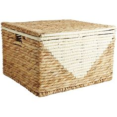 Pier 1 Imports Mila Nautal Wicker Large Lidded Basket ($76) ❤ liked on Polyvore featuring home, home decor, small item storage, natural, pier 1 imports, triangle palm, handwoven baskets, hand woven basket and wicker storage baskets