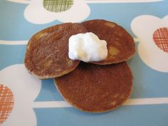 Almond Banana Pancakes on Weelicious my family loved these this AM.  Protein & healthy fat all in one bite!