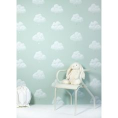 Buy Online Cotton Clouds Kids Wallpaper in Water Lily by Bartsch. A light green sky with golden raindrops. A delicate decor for children's rooms & nurseries.