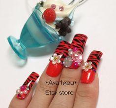 ON SALE Japanese 3D nails Akina zebra printed red long by Aya1gou, $18.72