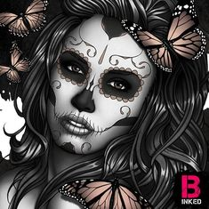 Candy skull tattoo for girls butterflies 68 Ideas Skull Rose Tattoos, Skull Girl Tattoo, Girl Skull, Sugar Skull Girl, Girl Tattoos, Sugar Skulls, Day Of The Dead Drawing, Day Of The Dead Art, Catrina Tattoo