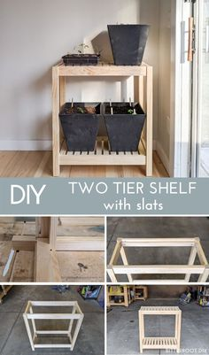 Grab plans to build a simple DIY two tier shelf with slats! This is a great basic shelf to keep you organized. All you need is a few tools! #diy #diyproject #woodworkingplans #woodworking #diyshelf Woodworking Tutorials, Woodworking Furniture Plans, Pallet Crafts, Diy Wood Projects, Diy Crafts, Wood Home Decor, Diy Home Decor, Handmade Furniture, Home Furniture
