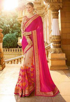 293dd4c4bd Designer Pink wedding Party Wear Chiffon & net Sarees For Brides Designer  Sarees Online, Wedding