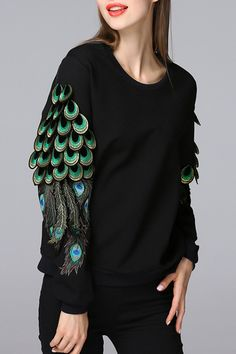 Shop blueoxy black embellished peacock sweatshirt here, find your sweatshirts at dezzal, huge selection and best quality. Casual Outfits, Cute Outfits, Fashion Outfits, Womens Fashion, Couture Fashion, Fashion Beauty, Independent Clothing, Embroidered Sweatshirts, Kurta Designs