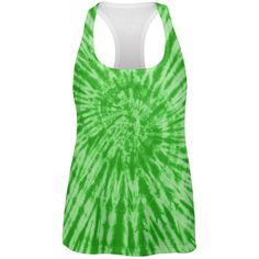 Green Tie Dye All Over Womens Work Out Tank Top