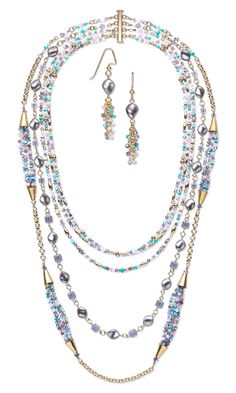 Multi-Strand Necklace and Earring Set with Swarovski Crystal Beads and Pearls and 14Kt Gold-Filled Beads