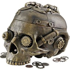 Design Toscano Steampunk Skull Containment Vessel Figurine (€32) ❤ liked on Polyvore featuring home, home decor, random, steampunk, decor, skulls, skull home decor, skull figurines, skull home accessories and steampunk home decor