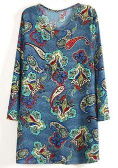 Blue Long Sleeve Multi Cell Print Dress - Sheinside.com
