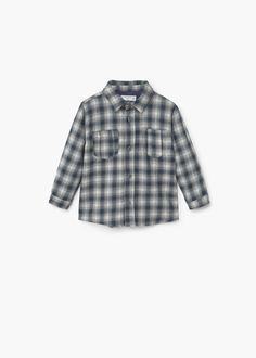 Camisa algodão quadrados -  Criança | MANGO Kids Portugal