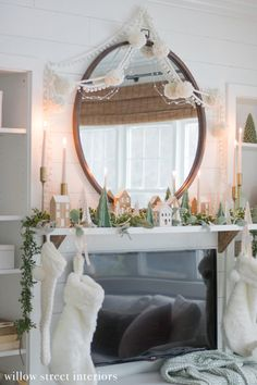Our Simple, Green and White Christmas Mantel