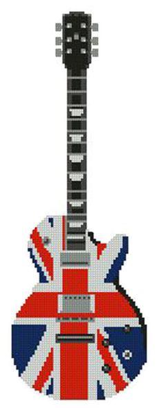"Union Jack Guitar Counted Cross Stitch Kit 4"" x 12"" 10.5cm x 30.3cm M2201"