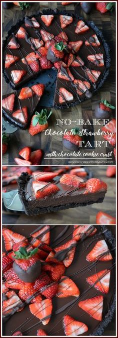 No-Bake Chocolate Strawberry Tart with Chocolate Cookie Crust! An easy and impressive splurge-worthy dessert for Valentine's Day or to satisfy your inner chocoholic! | homeiswheretheboa...
