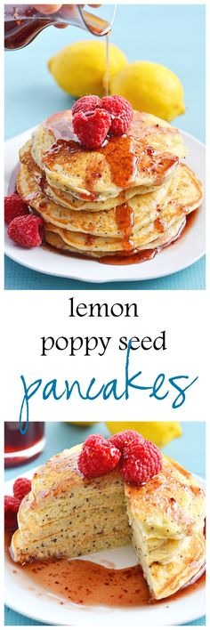 With a sprinkling of poppy seeds, lots of lemon juice and lemon zest, these Lemon Poppy Seed Pancakes make a great weekend breakfast. Take them over the top by drizzling with an easy to make raspberry syrup!