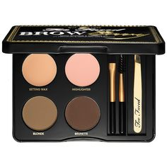 Most-loved brow products: Too Faced Brow Envy Shaping & Defining Kit—This foolproof palette contains everything a glamour girl needs to shape, define, fill, and set brows. It features customizable color for brunettes and blondes. Simply use the stencils and mix the two shades for your ideal brow shape and color. #Sephora #eyebrows