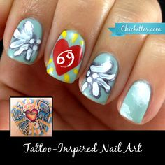 Chickettes.com Tattoo-Inspired Nail Art: Heart, Angel Wings, Cancer Zodiac