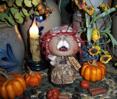 "Primitive Thanksgiving Fall Pilgrim Raggedy Ann 4"" Doll Vtg Patti's Ratties Bear"