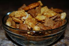 A snack mix like this doesn't last long around here. This mix is a little tangier than other chex mixes.