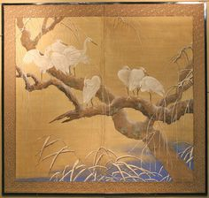 Japanese Two Panel Screen of Snow Cranes on a Willow Tree. Each Snow Crane is painted with its own personality and attitude, using the finest pigments and Gofun (Oyster Shell Lacquer). All of the elements of this painting are just magical. Brocade borders in a black lacquered frame make this two panel screen complete this work of art. 66 inches (167.5 cm)w x 62 inches (157.5 cm)h. Excellent Condition. Pre 1900. 17,500