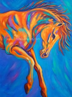 Daily Painters of California: Large Contemporary Action Horse Painting in Bright Colors by Theresa Paden
