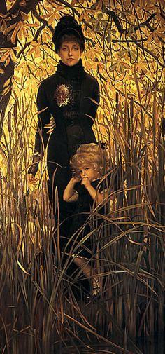 Makes me think of a  funeral for Summer or the death of Summer and the birth of autumn.  That is how think of  Lughnasadh. (Orphan - James Jacques Joseph Tissot)