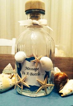 Wedding on the Sea  Message in a bottle from friends to bride and groom