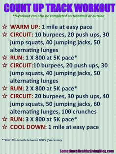 A fast and furious track workout with circuit training mixed in. Must add water. Hiit, Treadmill Workouts, Running Workouts, Fun Workouts, At Home Workouts, Body Workouts, Circuit Workouts, Circuit Training, Workout Ideas