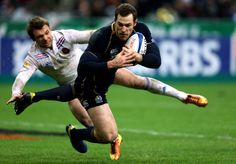 PARIS, FRANCE - MARCH 16: Tim Visser of Scotland scores a try during the RBS Six Nations match between France and Scotland at Stade de France on March 16, 2013 in Paris, France. (Photo by Warren Little/Getty Images)