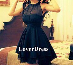 Black Party Dress, Little Black Dress, Black Prom Dress, Short Prom Dress, Solid Color Beam Waist Irregular Hem Chiffon Halter Dress