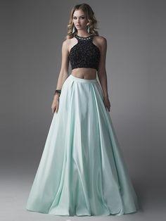 A-Line/Princess Sleeveless Chiffon Beading Scoop Floor-Length Two Piece Dresses