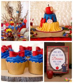 Rustic Glam Snow White Birthday Party via Kara's Party Ideas First Birthday Parties, Girl Birthday, First Birthdays, Birthday Ideas, Snow White Cake, Snow White Birthday, Disney Princess Birthday, Festa Party, Baby Party