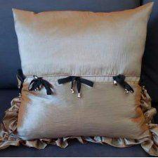 4 w 1 Piękna ceglasto- brązowo-niebieska poduszka z tafty.