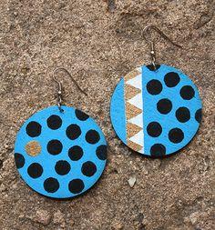 bronze white zigzag black dots on blue handpainted tribal design earrings by Urban Regalia