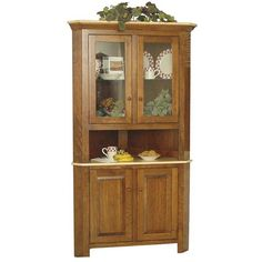 Amish Corner Hutches | Amish Brookline Corner Hutch (14.090 HRK) ❤ liked on Polyvore featuring home, furniture, storage & shelves, display units, glass door furniture, handmade amish furniture, glass door curio cabinet, handcrafted furniture and curio display cabinet