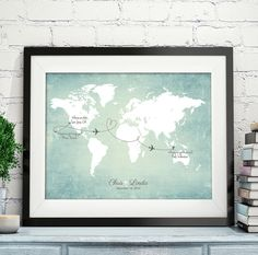 """Wedding Map, Wedding Guest Book Alternative, Vintage World Map, Use your own wedding colors, up to 30"""" x 40"""""""